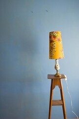 yellow lampshade (My name's axel) Tags: flowers decorations light roses stilllife lamp wall wire nikon belgium decorative interior decoration objects study shade utata 70s 24mm seventies lampshade piedestal d80 nikond80 piedestall