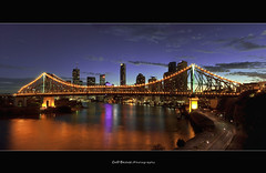 Brisbane City - Story Bridge.         Same Shot, Different Day!!! (Cass n Dan) Tags: city travel bridge sky panorama night clouds buildings reflections river twilight nikon purple dusk australia brisbane valley queensland brisbaneriver storybridge brisbanecity fortitudevalley d90 brisbanenight nikond90 brisbanelights wilsonslookout cassndan