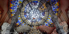 HDR Panorama Stained Glass Ceiling At Erawan Museam , Samutprakarn ,Thailand /  (AmpamukA) Tags: panorama glass ceiling stained thai hdr museam erawan samutprakarn      platinumheartaward   ampamuka