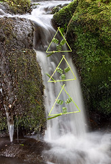 Waterfall Triangles (escher is still alive) Tags: summer sculpture grass june waterfall movement triangle lancashire lancaster thorn 2009 ephemeral landart naturalart enviro clougha birkbank enviroart andygoldsworthyhomage landartconnections richardshilling troughbrook