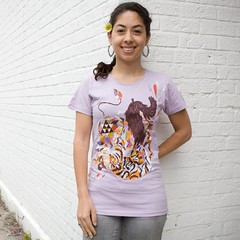Woo-hoo, my first Threadless win! (hellomeghunt) Tags: paper crazy quilt tiger lion illo pompadour threadless tee meghunt flatfight