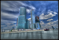 MIBC Moscow City (anton khoff) Tags: city blue sky reflection building water architecture clouds canon russia moscow 1022mm hdr moscowcity canon1022mm blueribbonwinner moscowinternationalbusinesscentre mibc antonkhoff