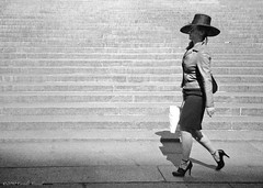 I Know Where I'm Going #2 (CVerwaal) Tags: nyc newyorkcity woman newyork fashion stairs analog women kodak trix hats streetphotography olympus ishootfilm oldschool 400tx xa2 heels zuiko streetportraits
