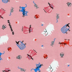 Cute animals on pink (This and That From Japan) Tags: dog cute animals japan writing japanese sketch artist drawing sewing fabric cotton material etsy cloth import edemberley
