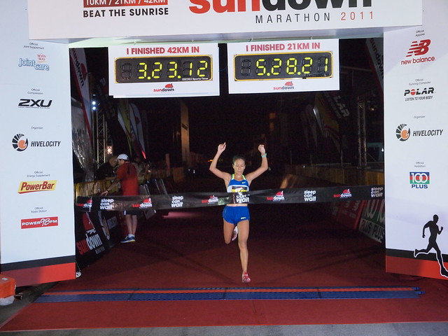 Winner of Sundown Marathon Womens full marathon category, SUMIKO TAN, achieving her personal best