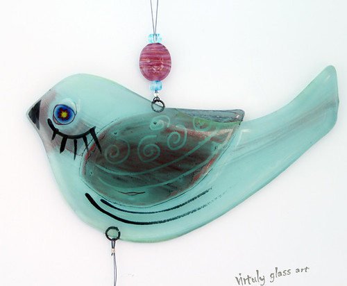 fused glass bird Suncatcher Mobile by virtuly art in glass