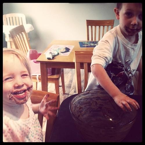Chocolate bowl = messy kids.