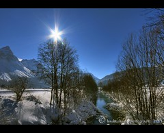 Winter in sterreich (mcPhotoArts) Tags: schnee trees winter sun mountain snow river austria sterreich flickr berge fluss sonne bume hdr hdri sonnenschein lermoos geotagging photomatix kartpostal canoneos400d aplusphoto platinumheartaward sigma1770mm2845dcmacro flussbachlufe bumblebeephotografix
