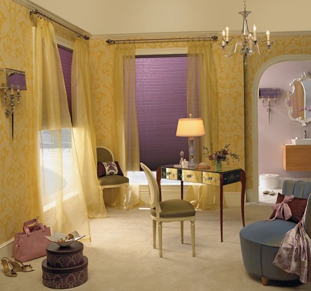 Pretty Yellow Room with Lilac Cellular Shades