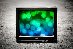 As odd as it sounds...no TV channel here plays bokeh re-runs... (Stephen.James) Tags: blue blackandwhite bw green grass television set outside outdoors tv bokeh gradient hbw blackwhitephotos