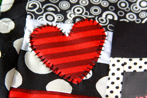 Hand appliqued heart - detail