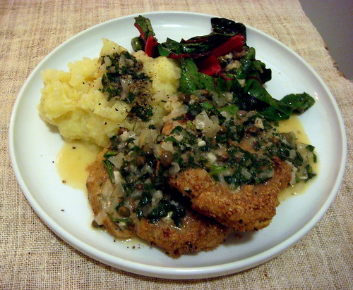 Seitan Piccata with Mashed Potatos and Red Chard