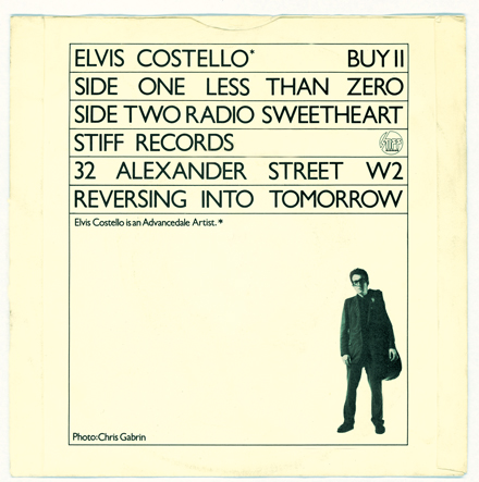 Back cover, Less Than Zero, Elvis Costello, 1977.