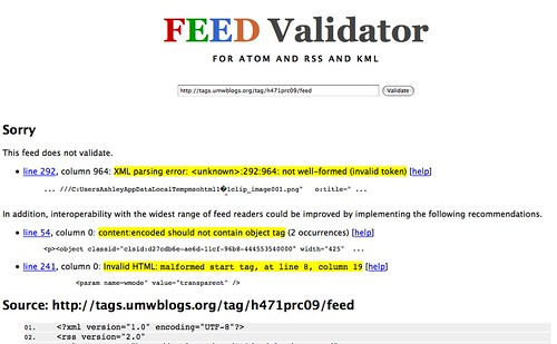 Feed validator finds MS Word Strain of cancer