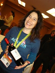 Aliza Sherman with Middle Sister Wine bottle