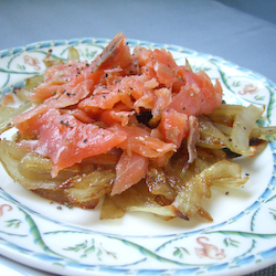 Smoked Salmon with Caramelised Onions