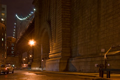 The Naked City (TomBrooklyn) Tags: nyc longexposure bridge ny beautiful stone brooklyn night noir awesome dumbo foundation manhattanbridge bridgepier tombrooklyn