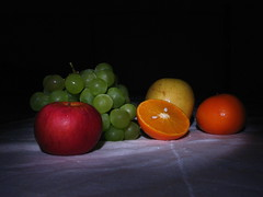 Still life with light painting (filippo rome) Tags: stilllife orange lightpainting apple fruits blackbackground grapefruit