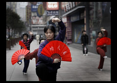 discipline (ladyinpink) Tags: china red woman art shanghai strength tradition taichi thebund discipline