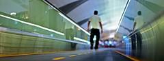 (h1r0) Tags: night canon 50mm lights airport dubai dof bokeh uae peoplemover arabic walkway 365 bling 5dmkii