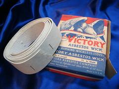 Asbestos Paper Wick - Victory (Asbestorama) Tags: vintage victory mineral hazardous hazmat wick asbest contamination asbestos chrysotile asbesto amiante amianto wicking