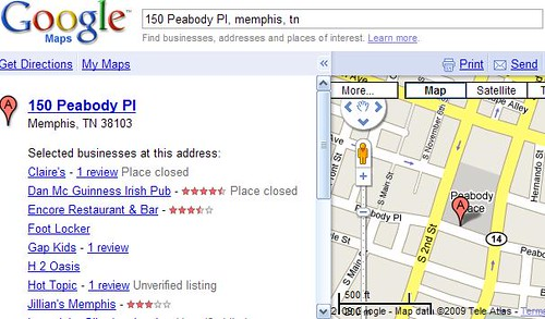 Peabody Place address search in Google Maps