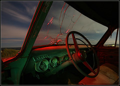 Inside the Studebaker (Dave Arnold Photo) Tags: pictures california nightphotography usa lightpainting newmexico car night canon vintage us photo route66 texas image photos arnold picture pic images 66 cadillac route photograph getty studebaker nash breathtaking davearnold rte66 davearnoldphoto davearnoldphotocom arnoldd