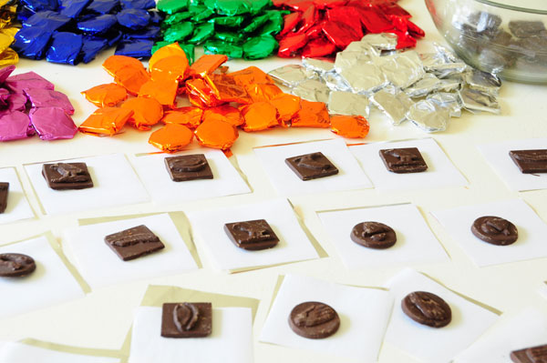 chocolates being wrapped