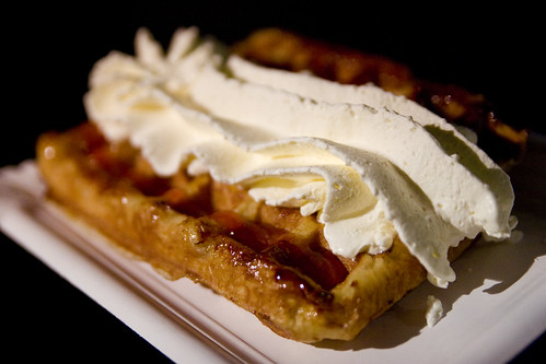 waffle with whipped cream and jam