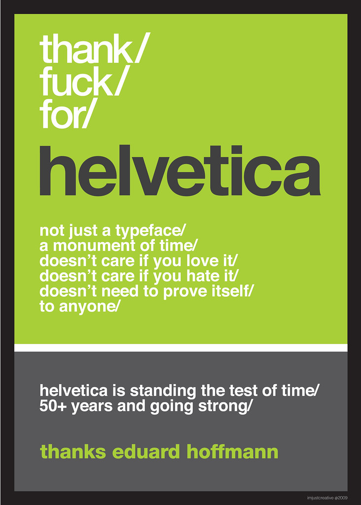 Thank F**k for Helvetica Eduard Typography Poster
