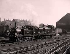 32636 and 32418 Brighton Shed prior to working a RCTS special to Seaford and return 7 Oct 1962 (pondhopper1) Tags: blackandwhite white black steam railways uksteam