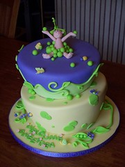 Wonky Sweet Pea cake (Andrea's SweetCakes) Tags: flowers baby leaves cake vines butterflies bugs sweetpea peas snails babyshower peapod