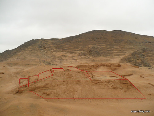 Huarco pyramid, now a pile of sand but once firm as concrete and painted brightly