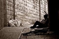 I Have a Dream, I think.... (metini) Tags: boy wall sepia dark alley alone sitting sad jerusalem tired kudus yerushalaim