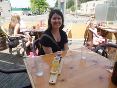 Jeanne enjoys a sampler at Skagit Brewery