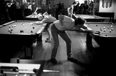 Pool (clarkmackey) Tags: bw pool asheville indoors iso1600 poolhall tmaxdev sychronicity cle twos barleys barleystaproom impliedmotion p3200tmz minoltarokkor40mmf20cle ditloa2008all roomphotography ditloa2009submit ditloa2009judged upcoming:event=2744385 googleavl isupportgooglefiberasheville