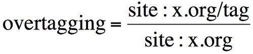 Captura de la fórmula secreta para calcular el overtagging