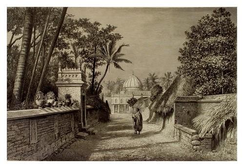 015-Jardines en Tritschinapalli al fondo una mezquita-La India en palabras e imágenes 1880-1881- © Universitätsbibliothek Heidelberg