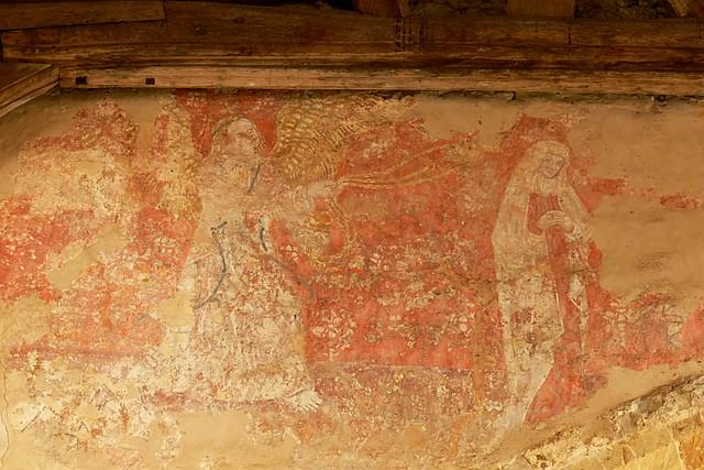 medieval wall painting, burton dassett, depicting censing angel and virgin.