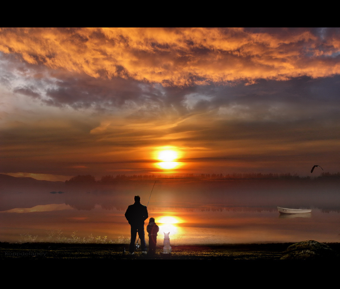 Fisherman with a child and his dog