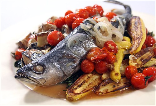 Trout Swimming in Vegetables