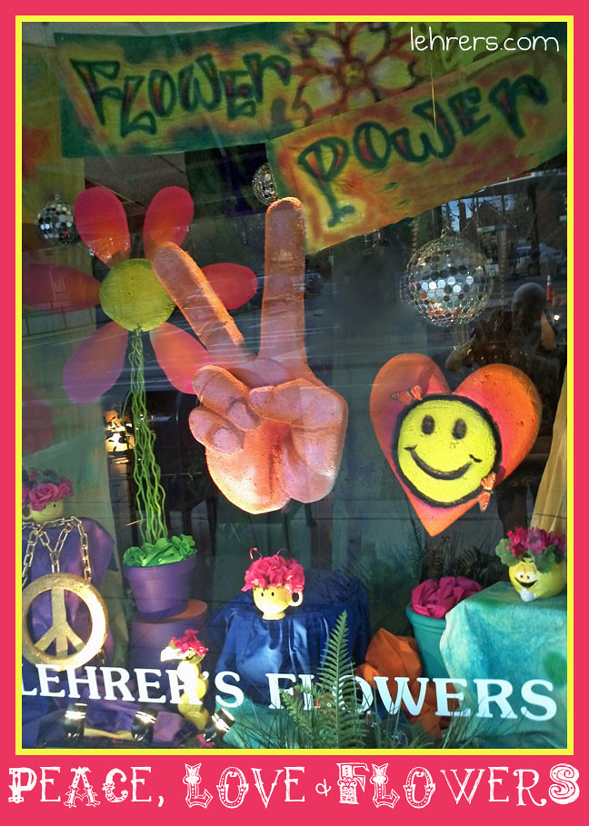 Retro 70s Window Display at Lehrer's Flower Shop in Denver, CO
