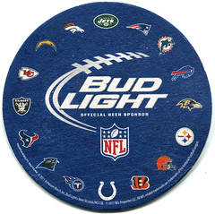 Bud Light - National Football League, American Conference (roger4336) Tags: usa beer america us unitedstates florida nfl american beermat sarasota bier budlight coaster budweiser afc americanfootball oysterbar bierdeckel 2011 beercoaster nationalfootballleague americanfootballconference phillippicreek americanconference
