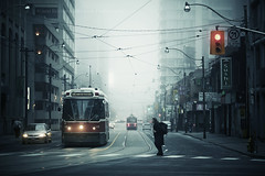 jesus in toronto. (kvdl) Tags: street city morning urban toronto ontario fog downtown ttc jesus intersection streetcar downtowntoronto morningfog dundasstreet canonef135mmf20lusm kvdl TGAM:photodesk=urbanscene