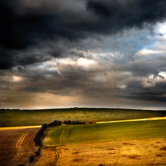 Untitled (furious_george_ii) Tags: blue sky colour green landscape gold sussex chalk corn brighton trails stormy fields steven southdowns stubble hedgerow canoneos5d noake canonef24105mmf40lisusmlens