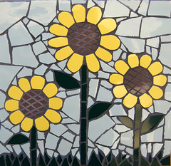 little sunflowers 12x12 (toadranchlady) Tags: flowers head mosaic wig toad abode