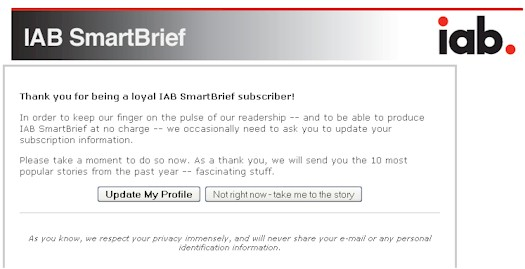 IAB SmartBrief Profile Update Screen - 02/26/09