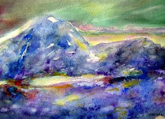Art: watercolour: ...twilight zone...Phantasie des Lichts...lumire mistrieuse... (Nadia Minic) Tags: new blue sky mountain art landscape licht interestingness mood image lumire aquarelle hill himmel bleu ciel painter blau bild luxembourg paysage landschaft stimmung eyecatcher interessantes twilightzone artiste phantasie peintre athmosphre fauvista aquarelliste mistrieux nadiaminic geheimnisvill qatercolour