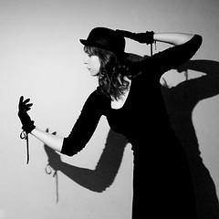 153 of 365 - Tell me now, is there difference between a shark and the ghost of a shark? (elsvo) Tags: shadow portrait blackandwhite woman selfportrait me girl monochrome self square weird hands gloves bowlerhat pairs 365 tommcrae squarephoto hardlight fgr 365days fourarms ghostofashark elsvo
