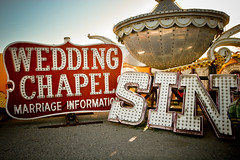 they go together like a horse and carriage (sgoralnick) Tags: vegas sign typography lasvegas decay nevada letters sin signage type weathered juxtaposition photosafari neonmuseum neonboneyard weddingchapel photojojo
